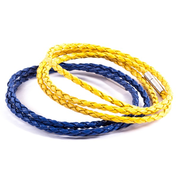 Lederarmbänder Doppelpack blau gelb by 12teFRAU