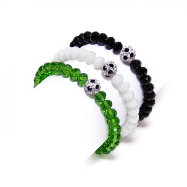 Kristallarmband Deine Farben schwarz weiß grün by 12teFRAU