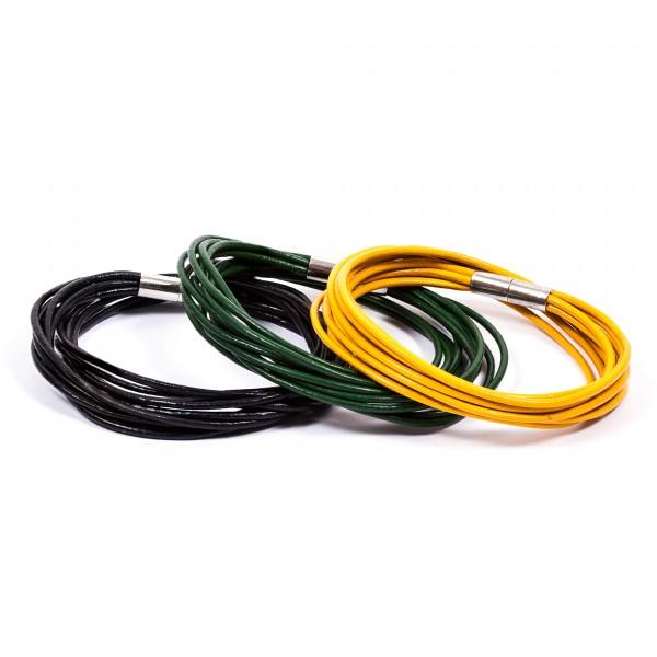 Lederarmbänder 10er schwarz grün gelb by 12teFRAU