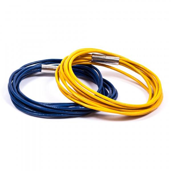 Lederarmband 10er blau gelb by 12teFRAU