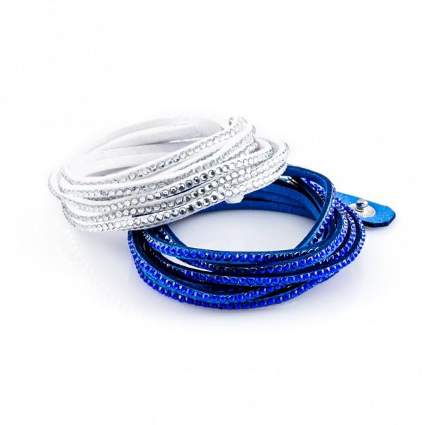 Kristalllederarmbänder Golden Goal blau weiß
