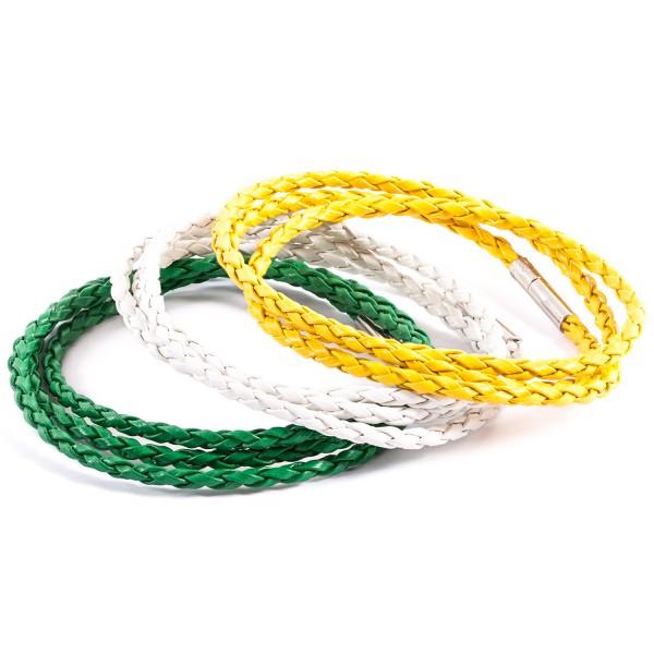 Lederarmbänder Doppelpack weiß grün gelb by 12teFRAU