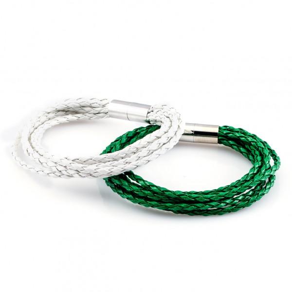 Lederarmbänder Knipser grün weiß