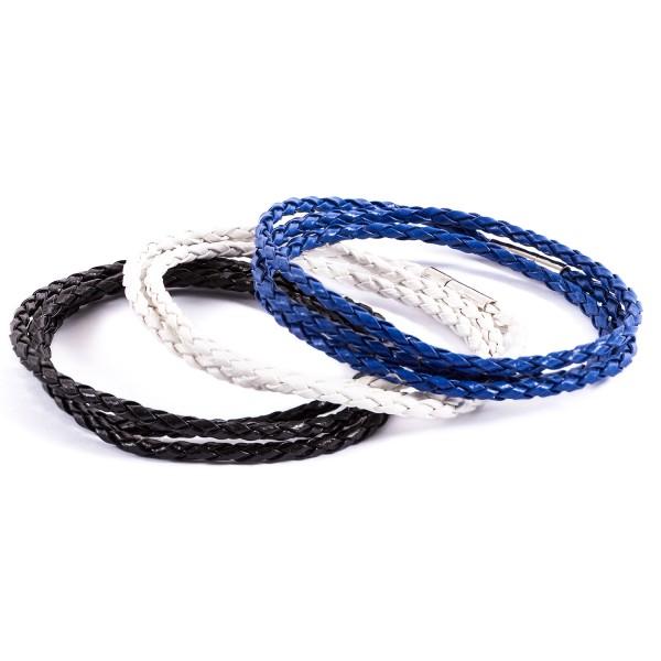 Lederarmbänder Doppelpack schwarz weiß blau by 12teFRAU