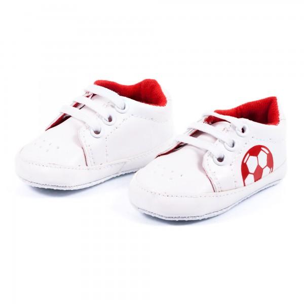 Babyschuhe Bolzplat rot weiß by 12teFRAU