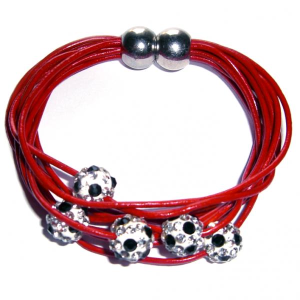 Magnetarmband Doppelpass Leder rot