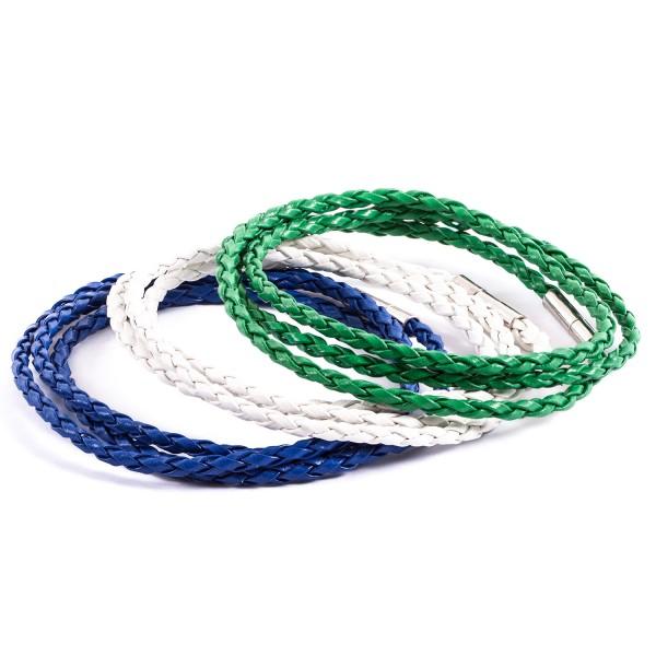 Lederarmbänder Doppelpack weiß blau grün by 12teFRAU