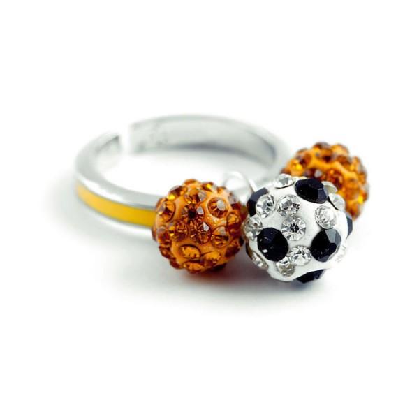 """Fußball-Ring """"Dreierkette"""", gelb"""