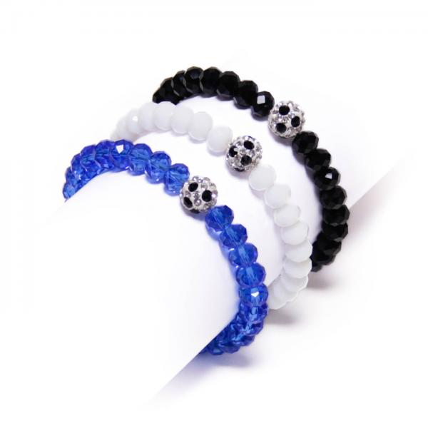 Kristallarmbänder Deine Farben schwarz weiß blau by 12teFRAU