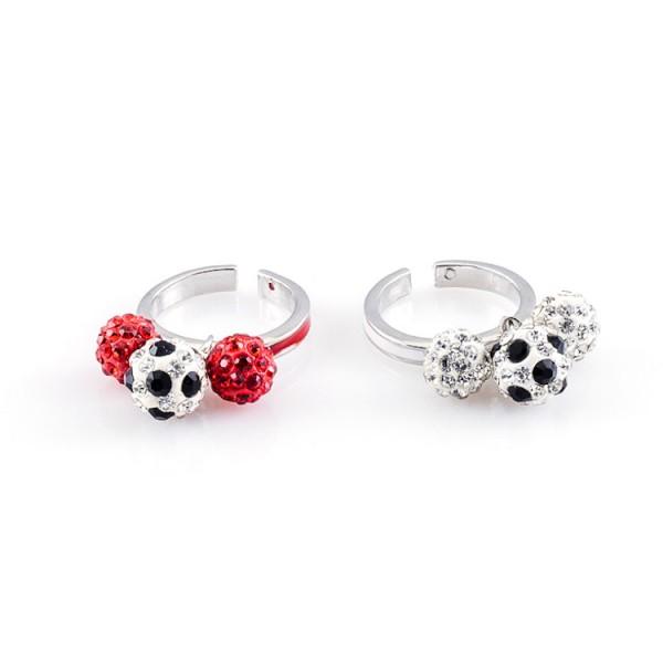 Fußball Ringe Dreierkette weiß rot gelb 12te Frau 12teFrau Schmuck Fußball Vereinsfarben Kombination