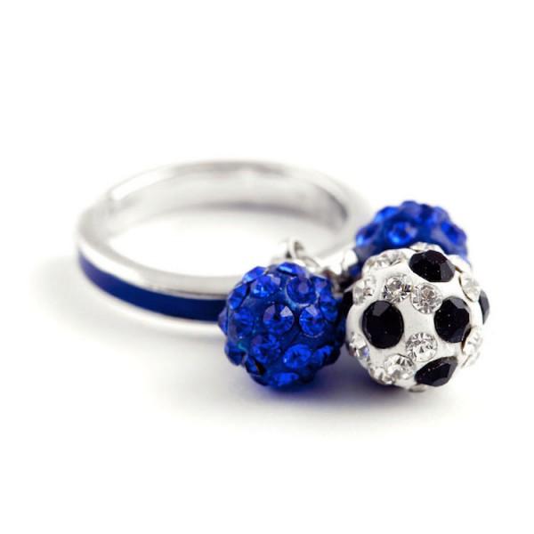 Fußball Ringe Dreierkette blau 12te Frau 12teFrau Schmuck Fußball Vereinsfarben Kombination