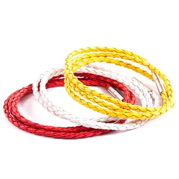 Lederarmbänder Doppelpack weiß rot gelb by 12teFRAU