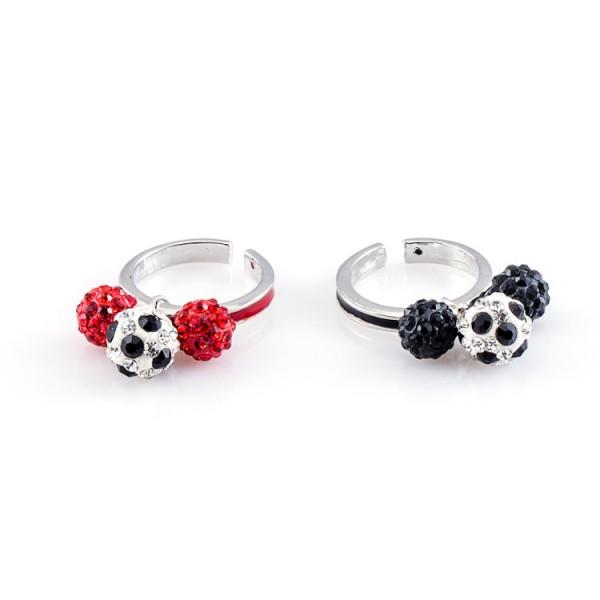 Fußball-Ringe Dreierkette schwarz rot 12te Frau 12teFrau Schmuck Fußball Vereinsfarben Kombination