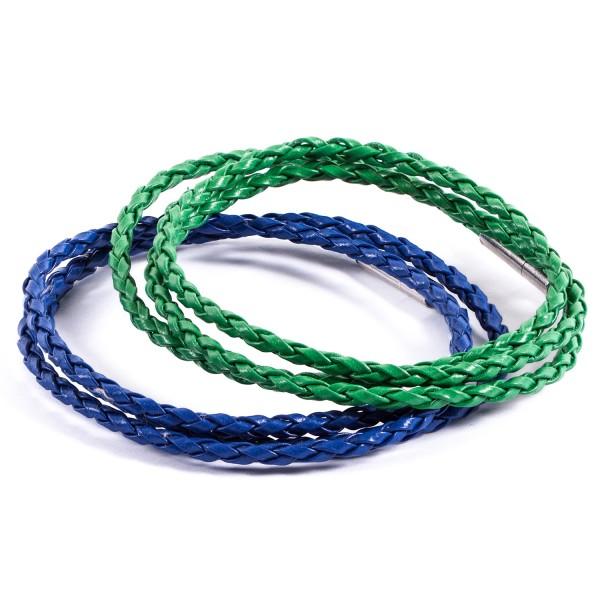 Lederarmbänder Doppelpack blau grün by 12teFRAU