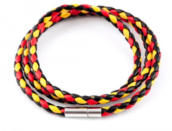 Lederarmband Wickelarmband schwarz-rot-gold