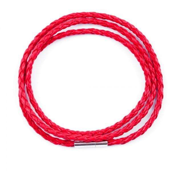 Lederband Doppelpack rot