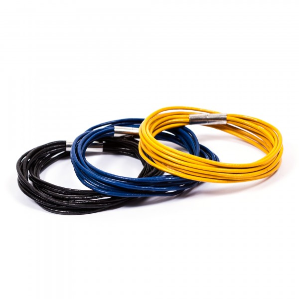 Lederarmbänder 10er schwarz blau gelb by 12teFRAU