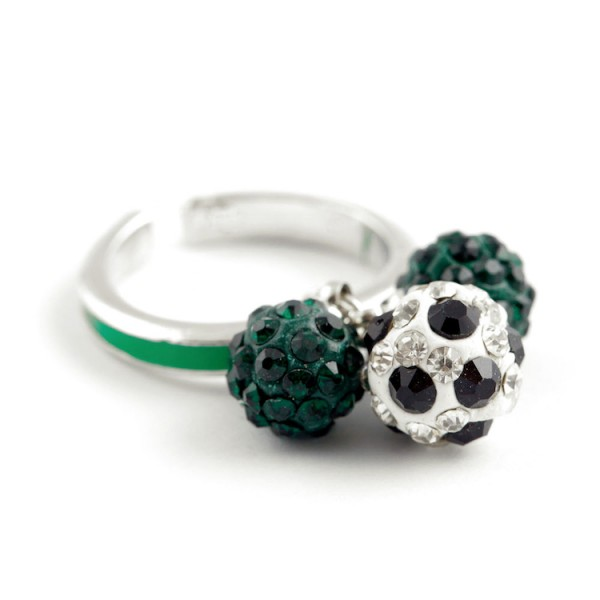 """Fußball-Ring """"Dreierkette"""", grün"""