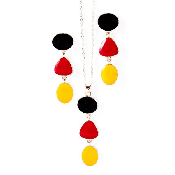Ohrringe Halskette schwarz rot gold 12te Frau 12teFrau Schmuck Fußball EM WM jdrfürjdn jeder für jeden