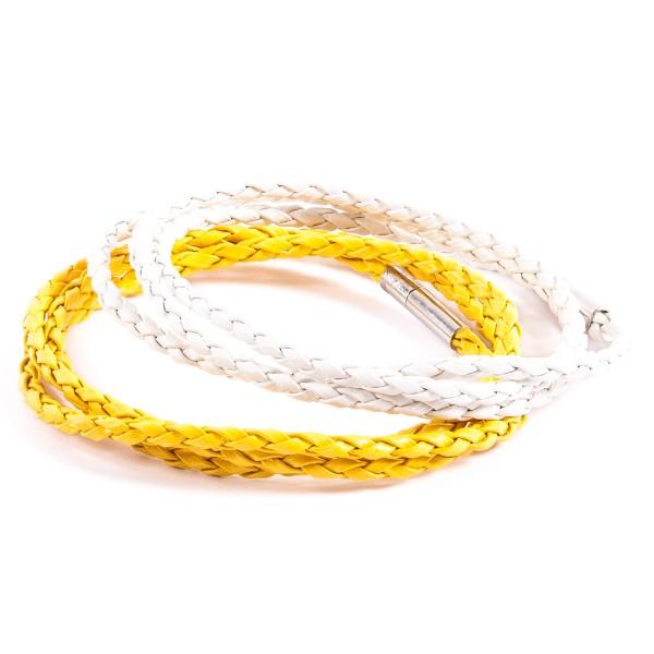 Lederarmbänder Doppelpack gelb weiß by 12teFRAU