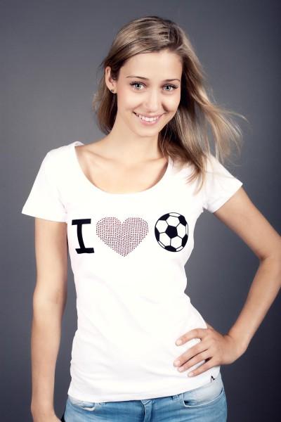 T-Shirt I love Fußball kristall 12te Frau 12teFrau Schmuck Fußball Fanschmuck Fashion