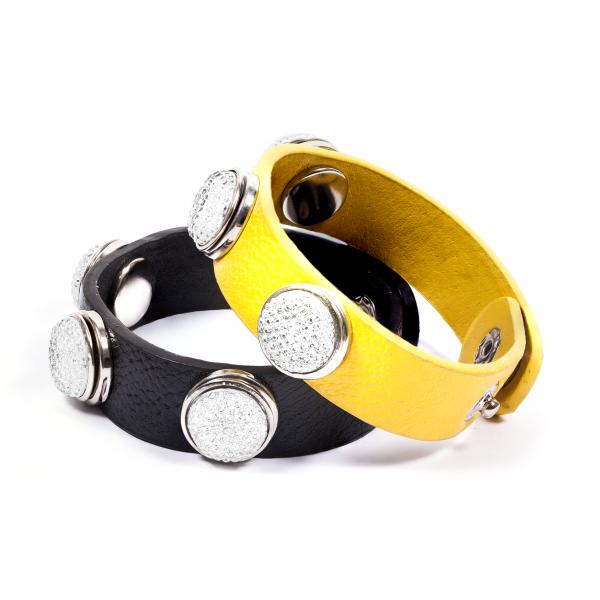 Druckknopfarmbänder Pressing schwarz gelb