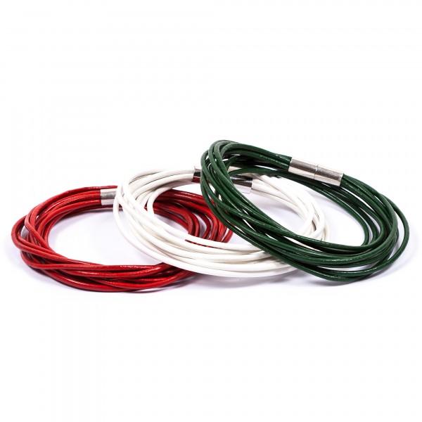 Lederarmbänder 10er weiß rot grün by 12teFRAU