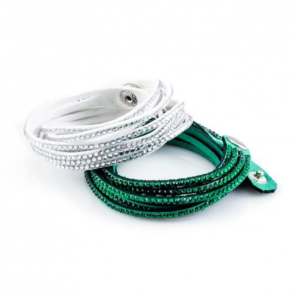 Kristalllederarmbänder Golden Goal grün weiß