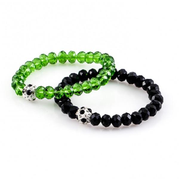Kristallarmbänder Deine Farben schwarz grün