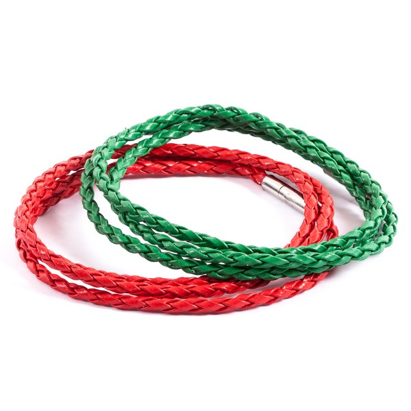 Lederarmbänder Doppelpack grün rot