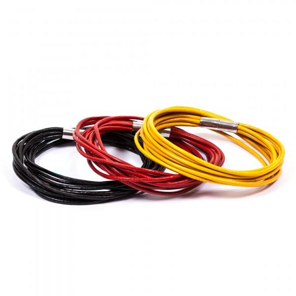 Lederarmbänder 10er schwarz rot gelb by 12teFRAU