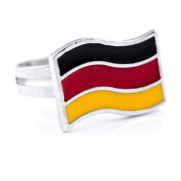 Ring Waving Flag schwarz rot gold 12te Frau 12teFrau Schmuck Fußball EM WM jdrfürjdn jederfürjeden