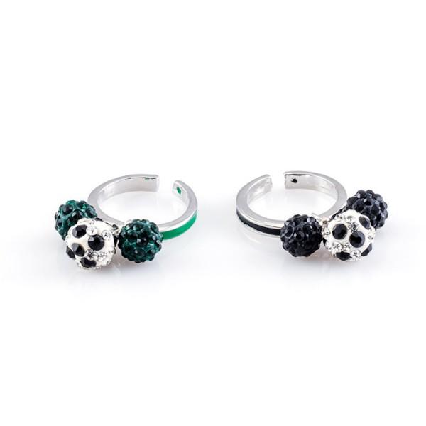 Fußball-Ringe Dreierkette schwarz grün 12te Frau 12teFrau Schmuck Fußball Vereinsfarben Kombination
