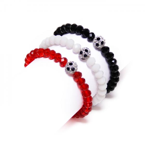 Kristallarmband Deine Farben schwarz weiß rot by 12teFRAU
