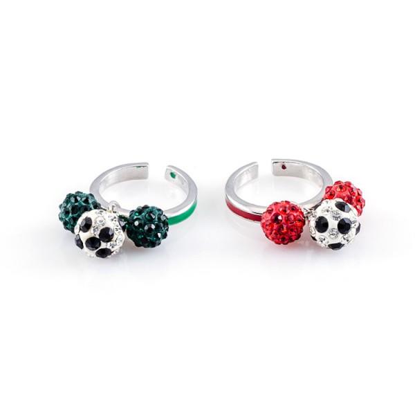 Fußball-Ringe Dreierkette rot grün 12te Frau 12teFrau Schmuck Fußball Vereinsfarben Kombination