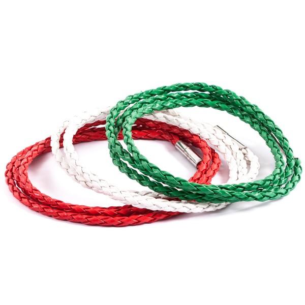 Lederarmbänder Doppelpack weiß rot grün by 12teFRAU