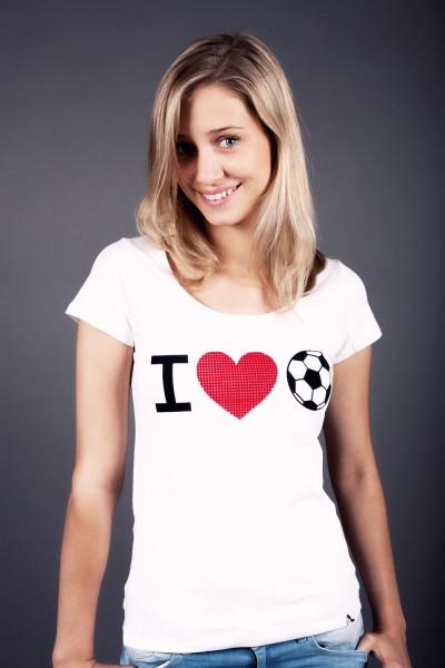 T-Shirt I love Fußball Flock 12te Frau 12teFrau Schmuck Fußball Fanschmuck Fashion
