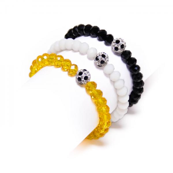 Kristallarmband Deine Farben schwarz weiß gelb by 12teFRAU