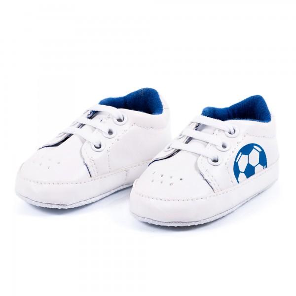 Babyschuhe Bolzplat blau weiß by 12teFRAU