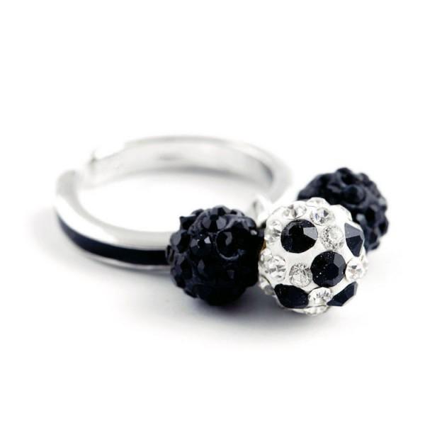 """Fußball-Ring """"Dreierkette"""", schwarz"""