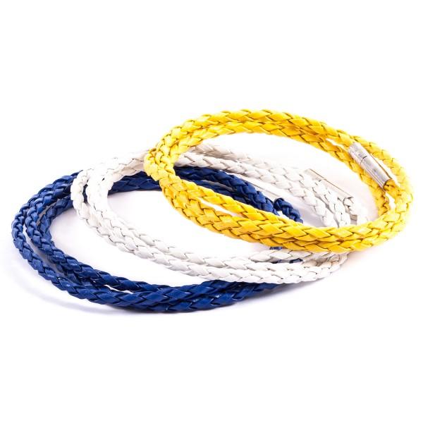 Lederarmbänder Doppelpack weiß blau gelb by 12teFRAU