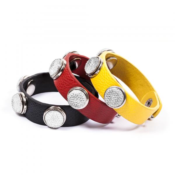 Druckknopfarmbänder Pressing schwarz rot gelb by 12teFRAU