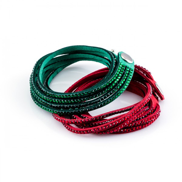 Kristalllederarmbänder Golden Goal grün rot