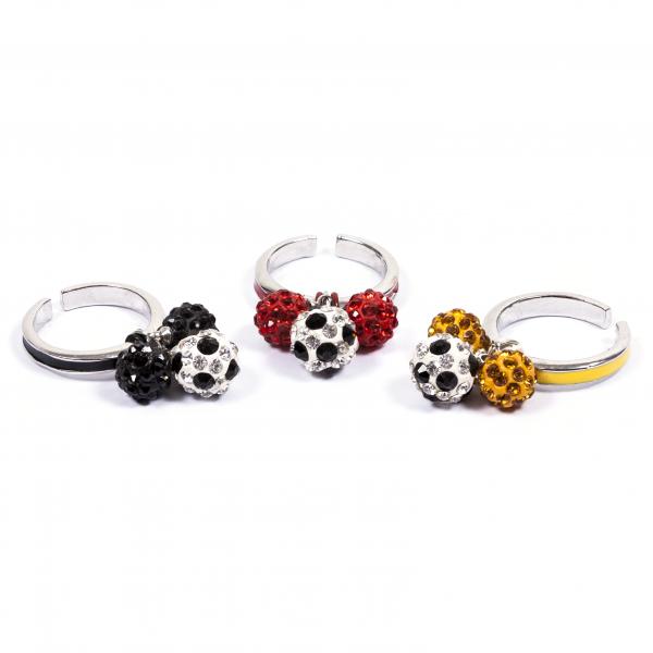 Fußball Ringe Dreierkette schwarz rot gelb 12te Frau 12teFrau Schmuck Fußball Deutschland Vereinsfarben Kombination