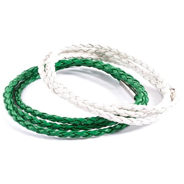 Lederarmbänder Doppelpack grün weiß by 12teFRAU