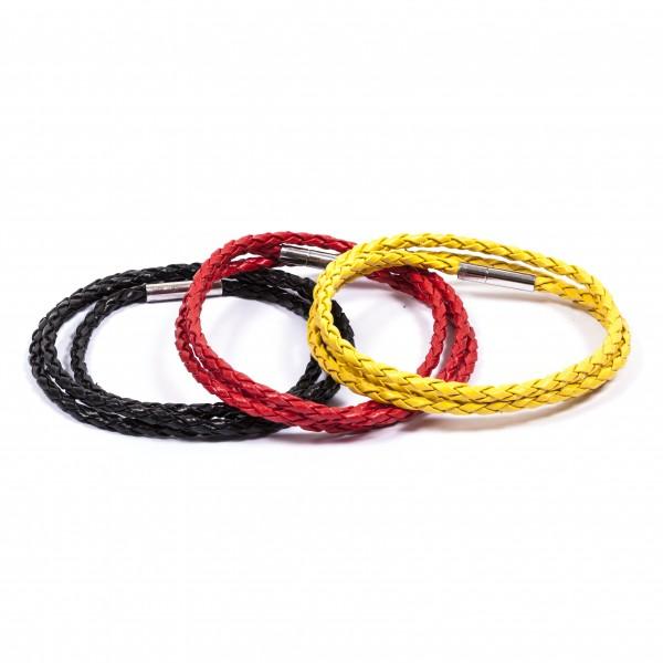 Lederarmbänder Doppelpack schwarz rot gelb by 12teFRAU