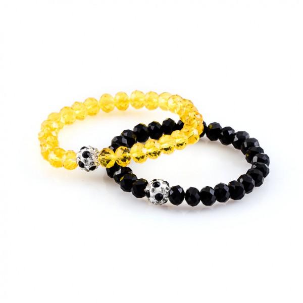 Kristallarmbänder Deine Farben schwarz gelb