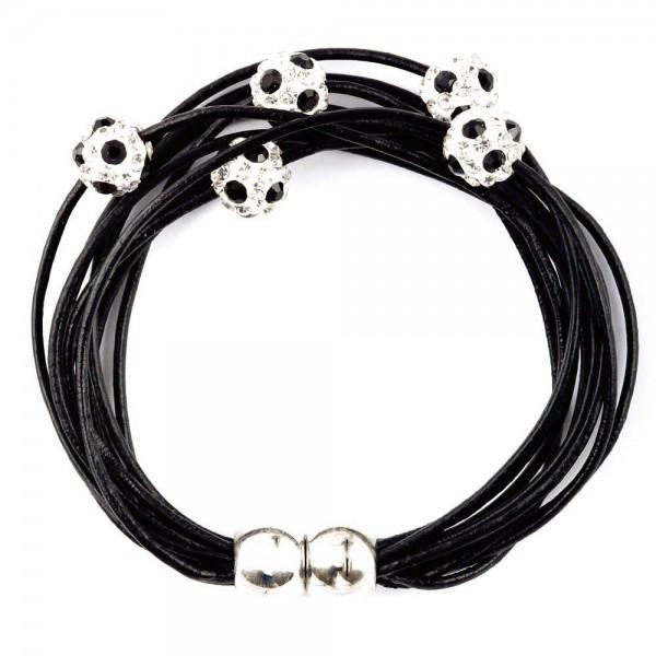Magnetarmband Doppelpass Leder schwarz
