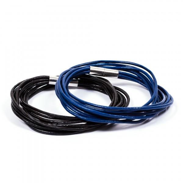 Lederarmbänder 10er schwarz blau by 12teFRAU