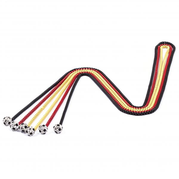 Halsketten Viererkette kristall schwarz rot gelb 12te Frau 12teFrau Schmuck Fußball Deutschland Vereinsfarben Kombination
